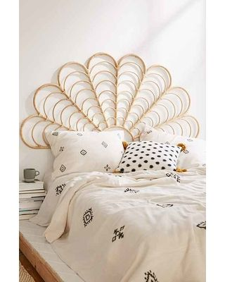 """Lulu Rattan Headboard,NEUTRAL,FULL/QUEEN"" from Urban Outfitters 