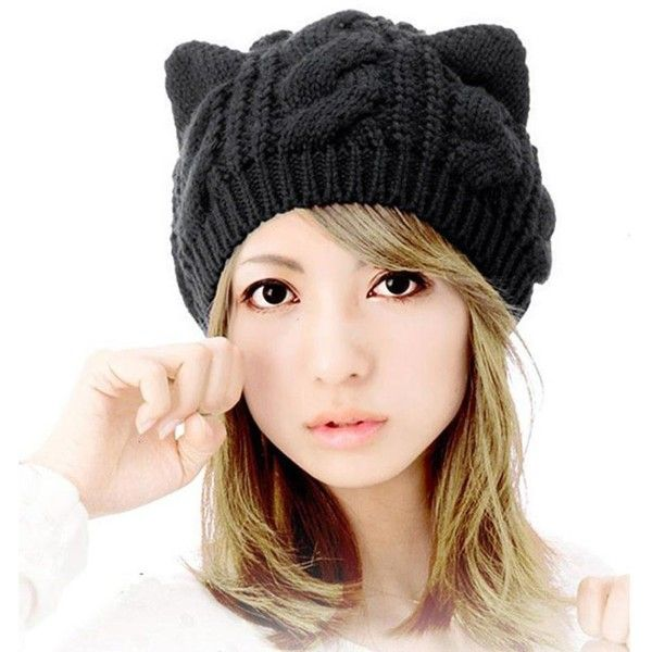 DEESEE Beanie Hat Unisex Baggy Beret Winter Warm Cat Ears Hemp Knitted... (135 UYU) ❤ liked on Polyvore featuring accessories, hats, beret hat, cat ear hat, beanie cap hat, beanie caps and hemp beanie