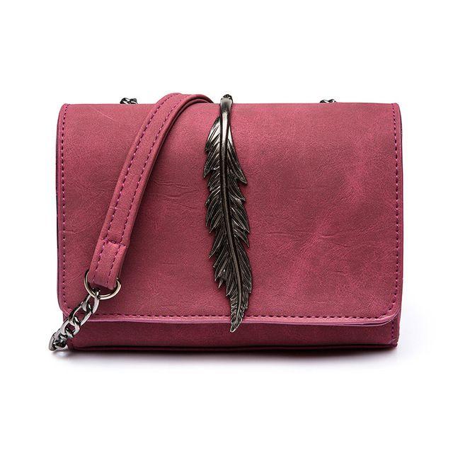 Women Leaves Decorated PU Leather Mini Flap Shoulder Bag Chain Messenger Bag