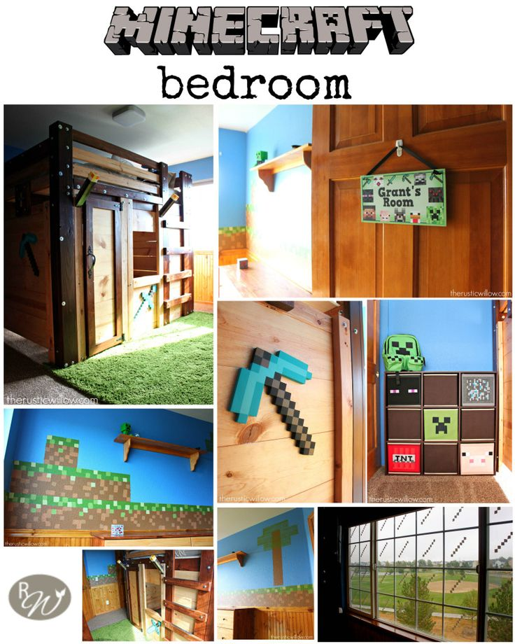 With pixelated walls, a fort bed, and impeccable details, this is the ultimate Minecraft room | therusticwillow.com