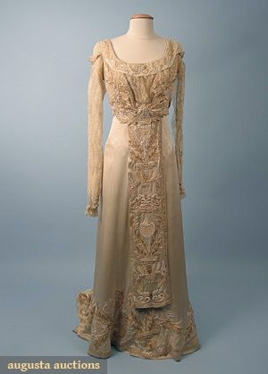 ARTS CRAFTS WEDDING GOWN C 1912 Cream Silk Charmeuse Cotton Lace W