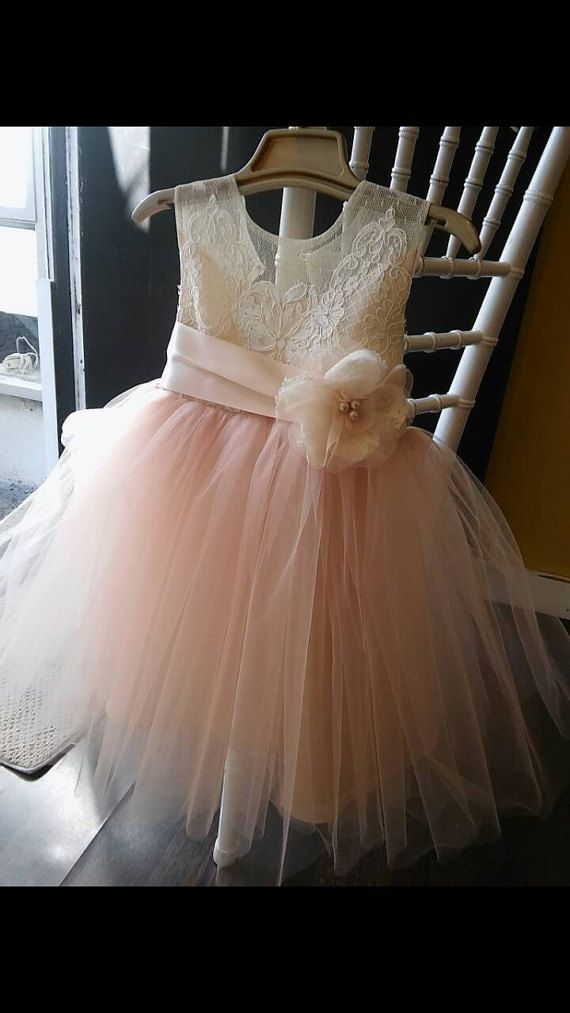 Blush pink Isabella flower girl dress tea length by somsicouture