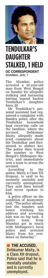 Man from Bengal arrested for stalking Sachin Tendulkar's daughter. #CriminalLawyersinHyderabad        #CriminalAdvocatesinHyderabad #AbhayaLegalServices