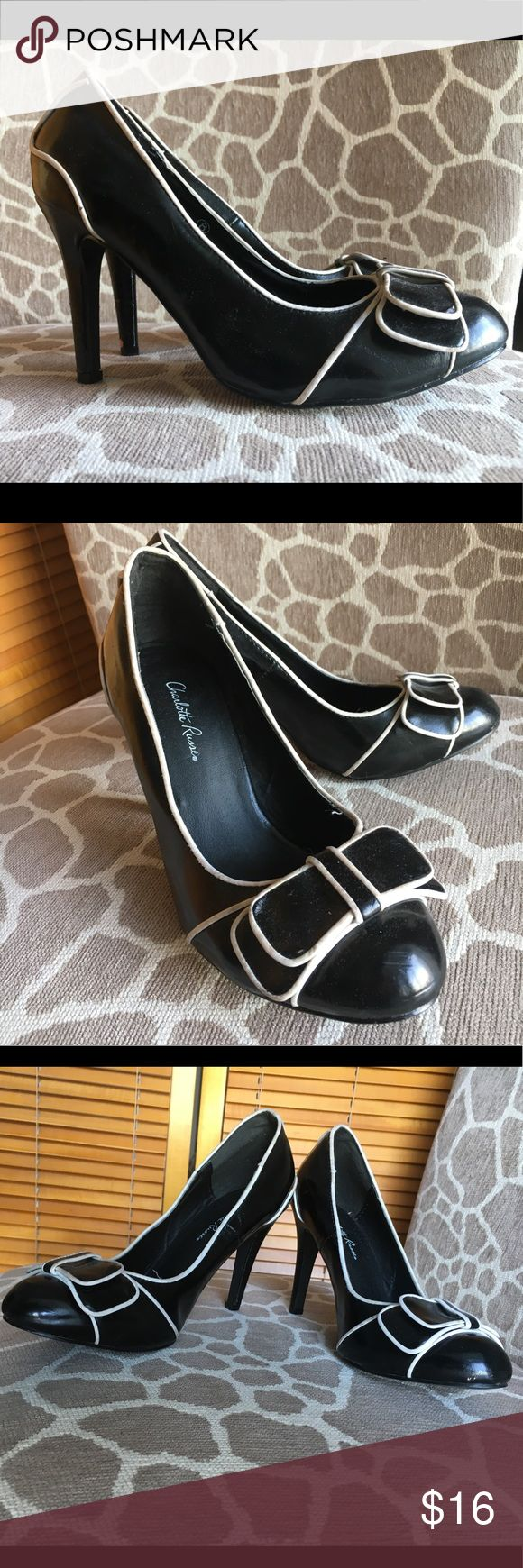 Cute black 50's style Charlotte Russe heels Cute, black, 50's style Charlotte Russe heels with accent on the toe. Closed toe heels. A little worn, but in good quality! Super cute. Wear to your next 50's dress up, dance party or sock hop! Charlotte Russe Shoes Heels