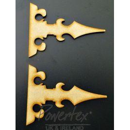 mdf pair of hinges no 2, mdf shape, mdf hinges, decorative hinges, craft project, mixed media embellishments, craft embellishment, wooden hinge, powertex uk, powertex,