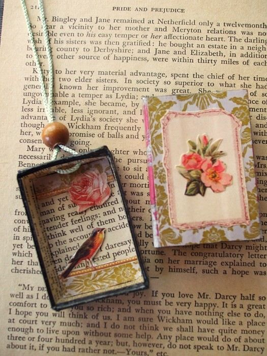 Secret Garden Bird Matchbox Necklace Romantic Floral Cameo Pendent - by theshoparoundthecorner on madeit