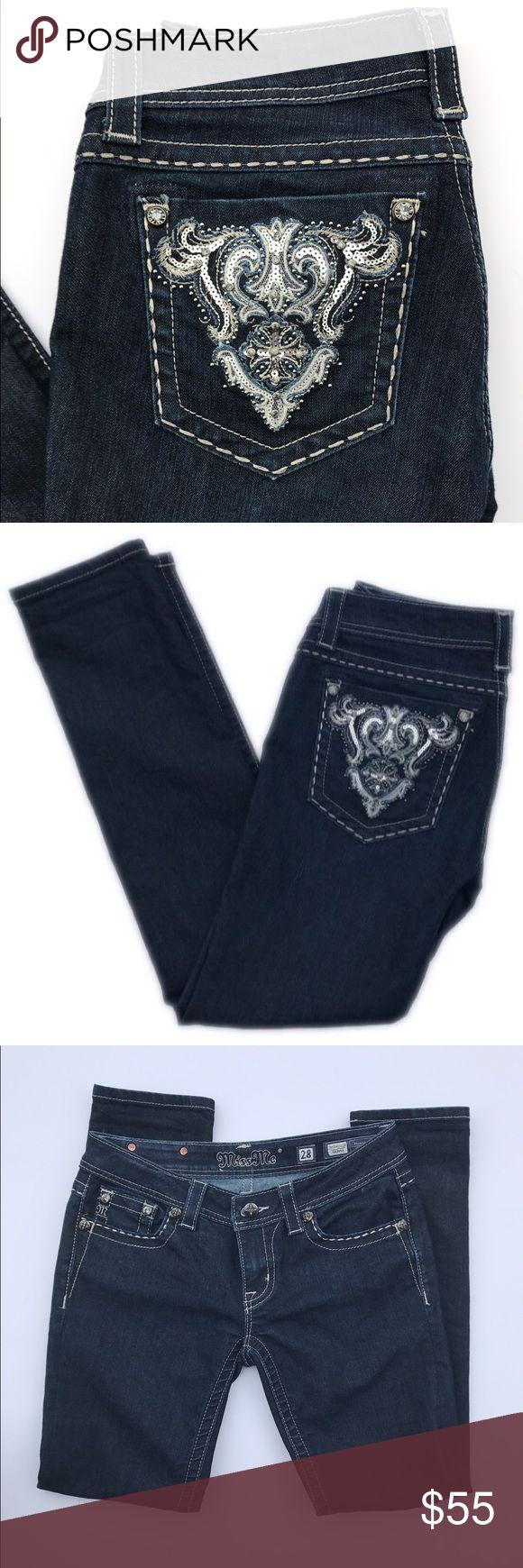 Miss Me Sunny jeans Size 28 Miss Me skinny jeans 💎 Like new! 💎 style JE5341S12R 💎 Dark wash 💎 Miss Me Jeans Skinny
