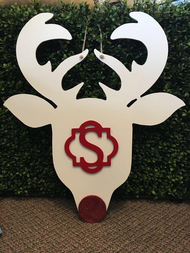 Reindeer Monogram Door Hanger - Letter S