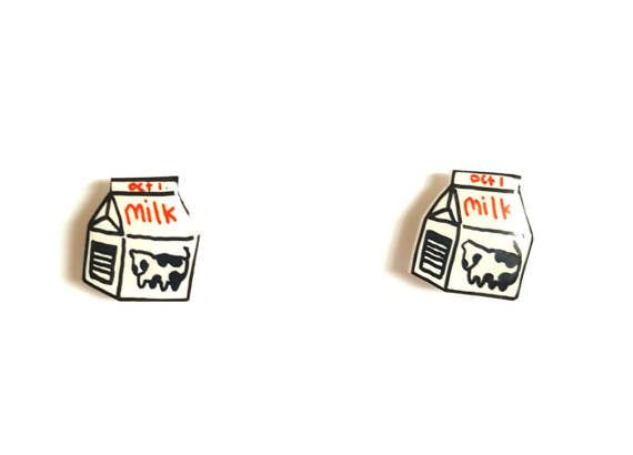 Milk Carton Stud Earrings | Shrink Plastic, Cute, Miniature Food.