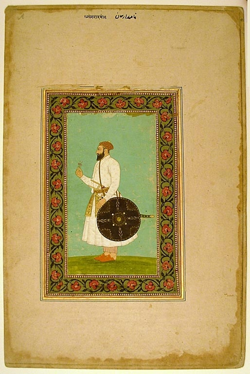 Album Page with a Portrait of Namdar Khan (Side A) and Calligraphic Specimens (Side B), Late 17th century (painting and borders),16th/17th century (calligraphy), Art Institute of Chicago
