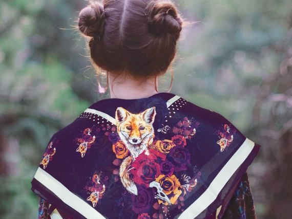Bohemian fox silk scarf. Indigo purple floral silk wrap summer accessory for wildlife and nature lovers. Cute boho folk art neckerchief/bandana/shawl.