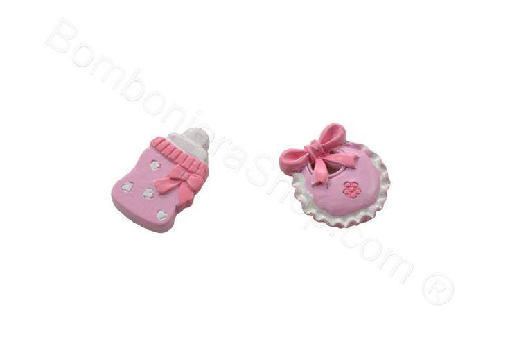 Set 8 pezzi applicazione in resina colorata rosa biberon e bavaglino per il fai da te della bomboniera (LS)