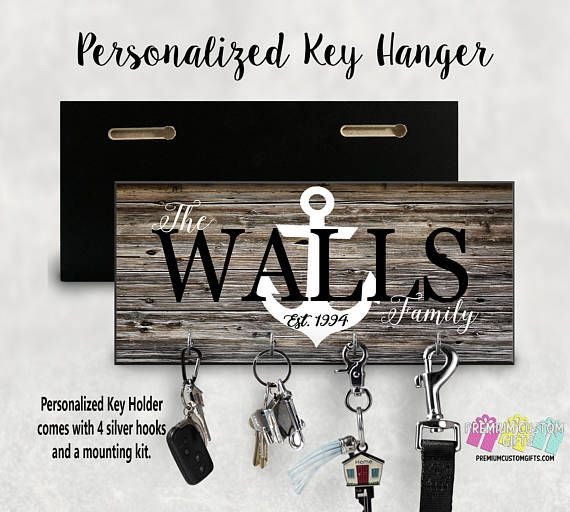 Family Name With Anchor Wall Key Hanger Personalized With Your Etsy In 2020 Key Hanger Personalized Key Holder Personalized Wall