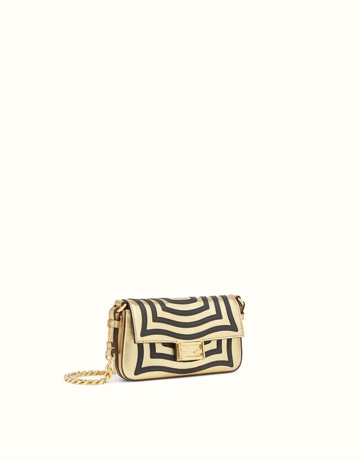 FENDI MICRO BAGUETTE - microbag in gold-coloured leather