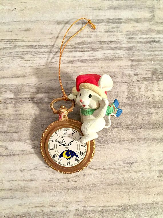 Vintage Christmas Tree Ornament Mouse Sitting on a Pocket Watch #SteampunkOrnament #PocketWatch #ChristmasOrnament #VintageOrnament #Christmas #Mouse