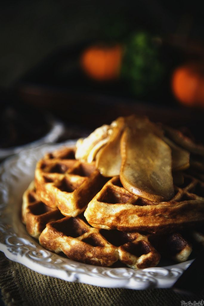 Spiced Buttermilk Waffles with Amaretto Glazed Pears