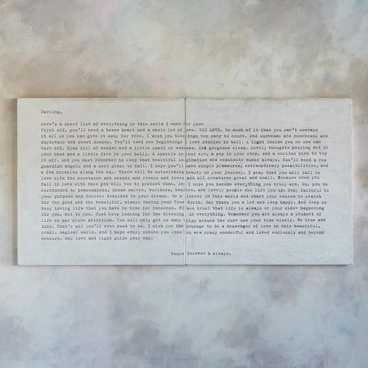 "CAMP LETTER PRINT -- A beautiful letter written by a parent to a child off at camp, printed in vintage typewriter font. Luan plywood. Handmade by Rebecca Puig. USA. 72""W x 2""D x 36""H."