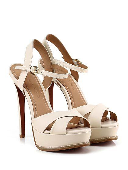 Carrano - Sandalo alto - Donna - Sandalo alto in pelle con cinturino alla caviglia e suola in gomma. Tacco 145, platform 40 con battuta 105. - BEIGE - € 175.00