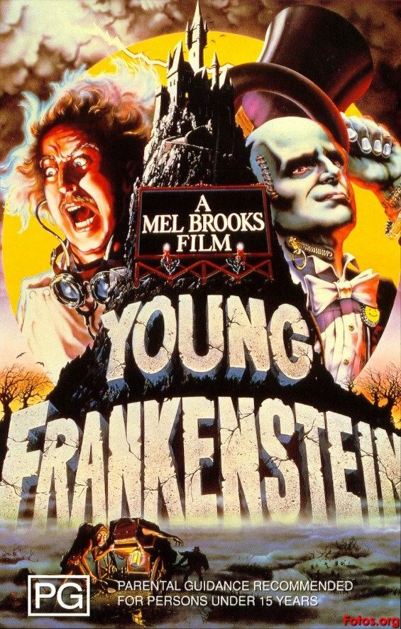 "Young Frankenstein (1974) Written & Directed by Mel Brooks. Writer: Gene Wilder. Based on novel ""Frankenstein"" by Mary Shelley. Dr. Frankenstein's grandson, after years of living down the family reputation, inherits granddad's castle and repeats the experiments. [starring: Gene Wilder, Peter Boyle, Madeline Kahn, Teri Garr, Cloris Leachman, Marty Feldman, Gene Hackman, Kenneth Mars...]."