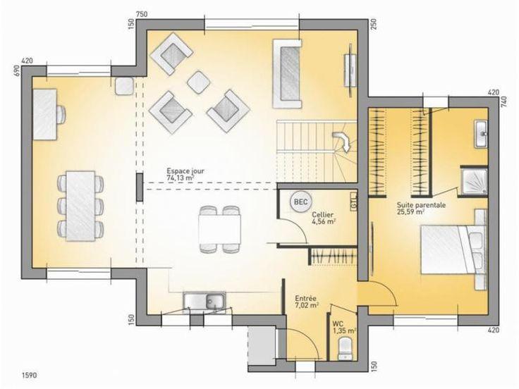 Maison Plan Excellent Plan Maison En L Clmatite With Maison Plan