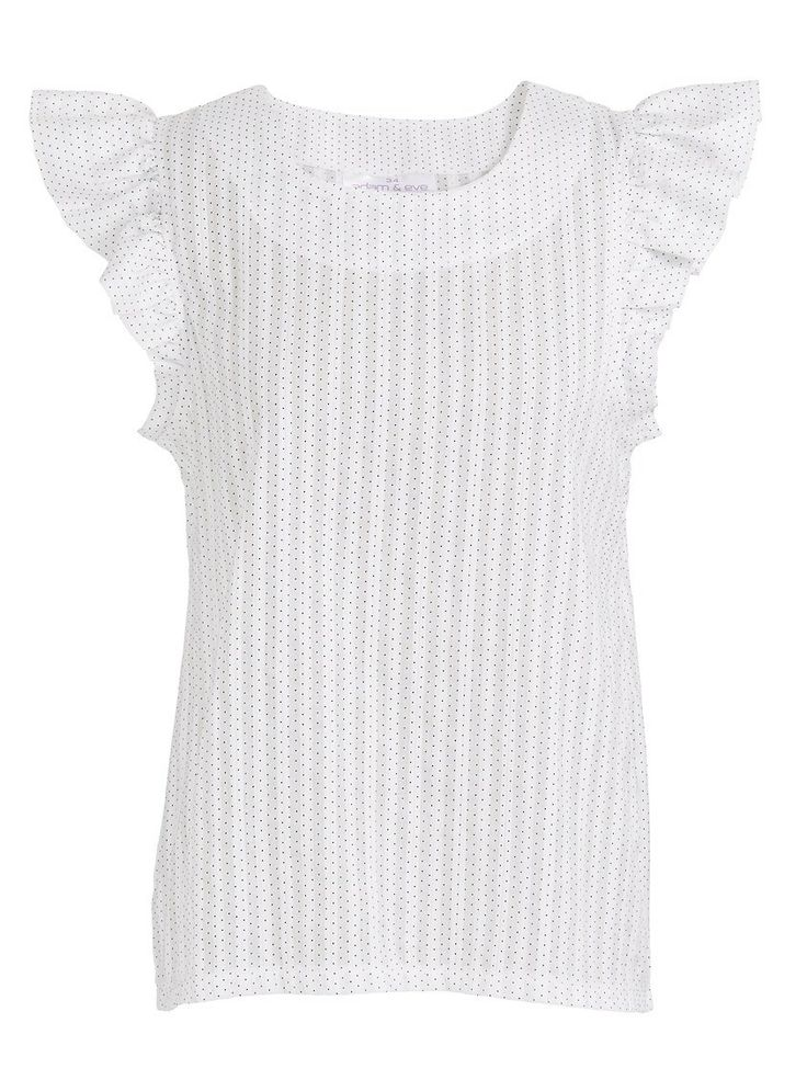 Frilled-sleeve top | This light and easy to wear cotton blouse is made from 100% cotton that has a delicate embroidered spot. It has a curved neckline and fun, feminine frill sleeves.