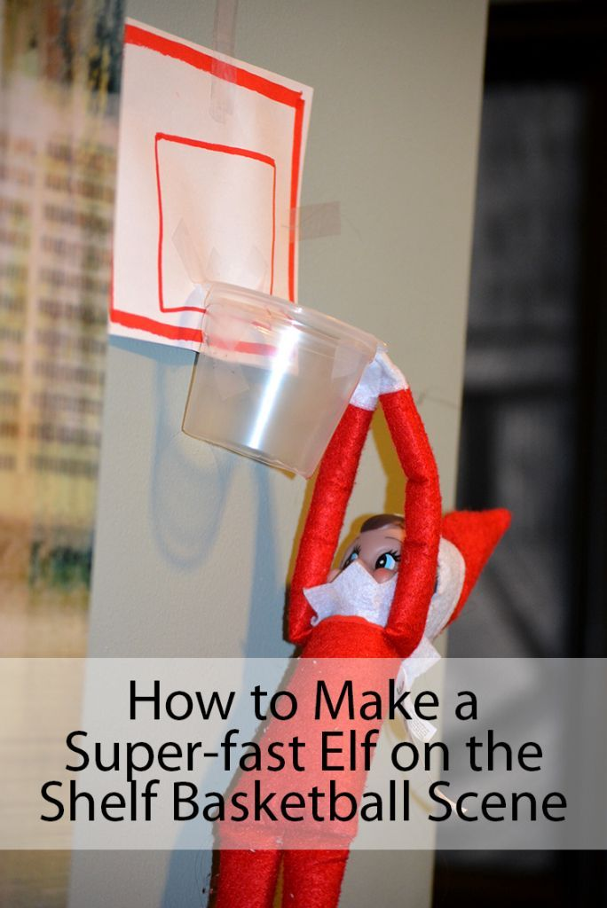 Elf on the Shelf Ideas on how to make a basketball scene! Pudding Cup Crafts - Hersey's Ready To Eat Pudding Snacks! #ReadySetSnack #ad