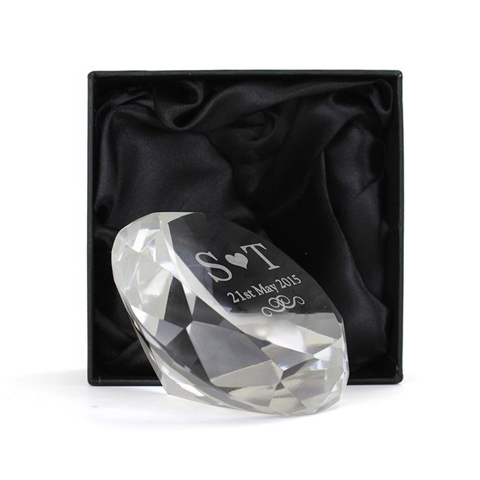Personalised Diamond Paperweight - Personalised with 2 initials and a date