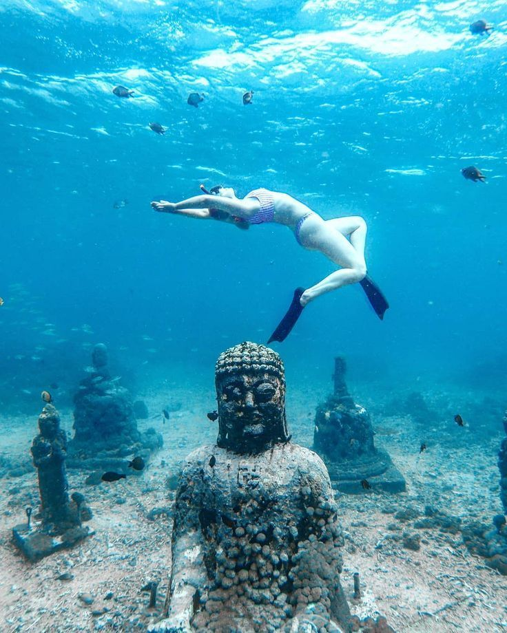 Underwater Photography Free Diving In An Underwater Statue Garden In Indonesia Bali Female T Usa Places To Visit Underwater Sculpture Cheap Places To Travel