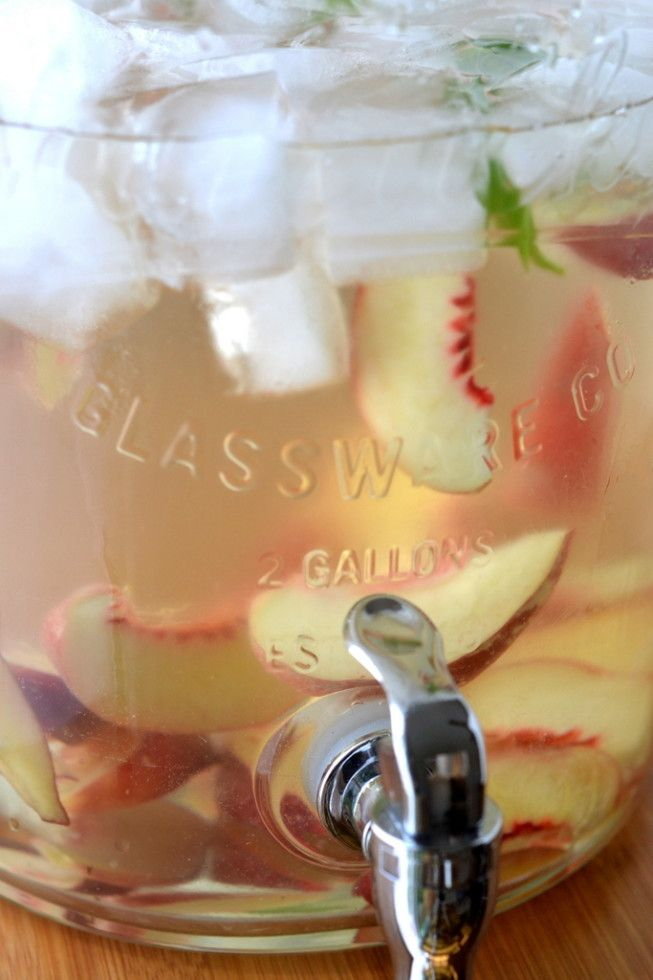 """I know this will be the hit of my summer parties! Beverage dispenser from Classic Hostess. Saw it on """"The View From Great Island.""""Summer Peach and Basil Sangria 4"""