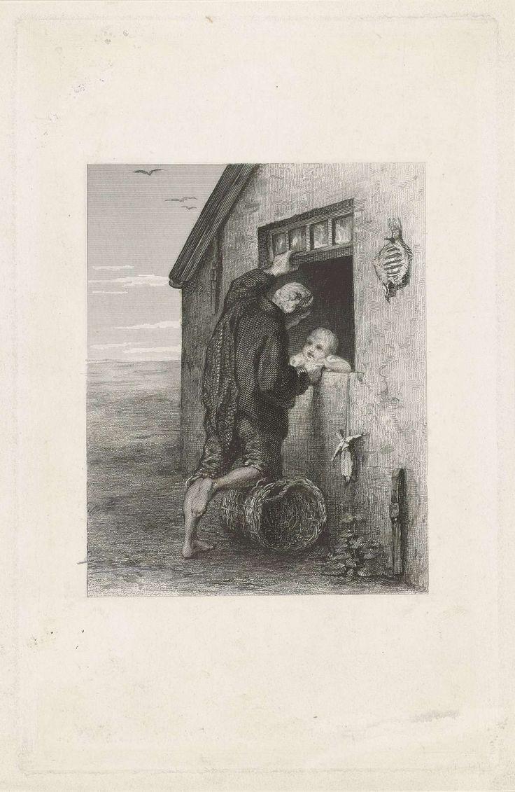 Johann Heinrich Maria Hubert Rennefeld | Gesprek tussen een visser en een kind, Johann Heinrich Maria Hubert Rennefeld, 1855 - 1877 | Een visser staat voor het raam van een huis te praten met een klein kind. Hij leunt met zijn knie op een rieten mand en het kind laat een pop aan een touw door het venster naar buiten bungelen. Op de achtergrond het strand en de zee.