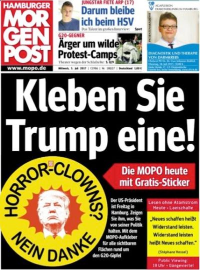 "German newspaper has issued anti Donald Trump stickers reading ""Horror Clowns? No Thanks"" ahead of the G20 summit in Hamburg."