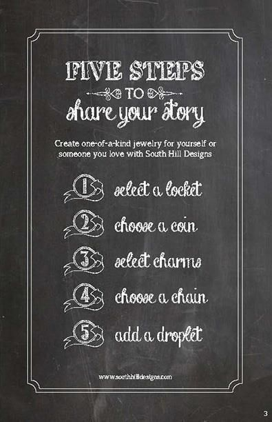 The 5 steps to creating your story! South Hill Designs! Amy Jo IA Help others create their story, Join my SHD team! shdcharmed@yahoo.com