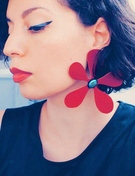 Single statement earring dark red flower earring by elfinadesign