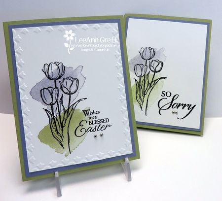 LeeAnn used the Framed Tulips embossing folder to dress up her easy Easter Blessings & Happy Watercolor card. All supplies from Stampin' Up!
