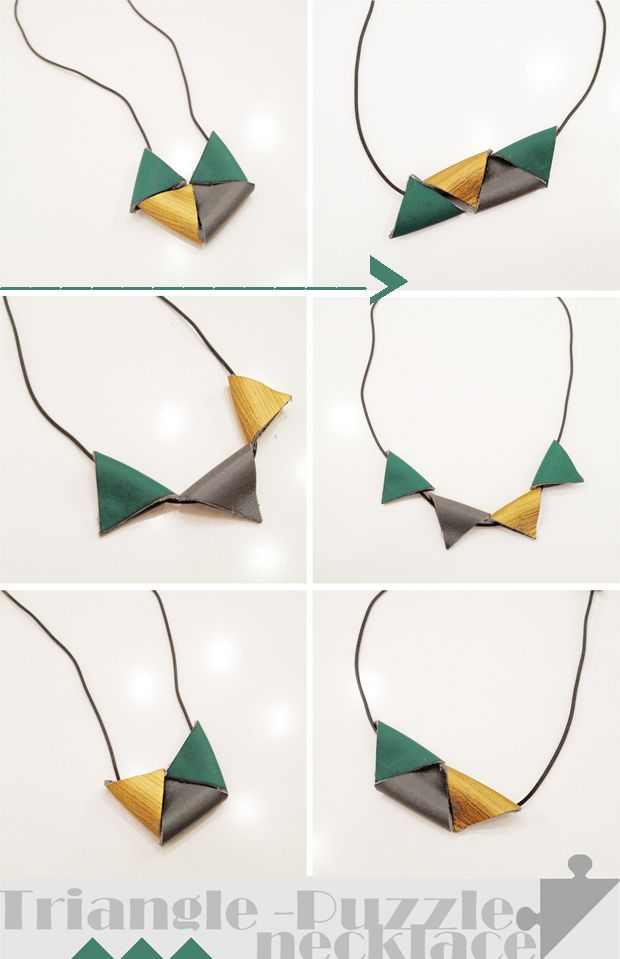 DREIECK-PUZZLE-LEDERPERLEN DIY...triangle leather necklace