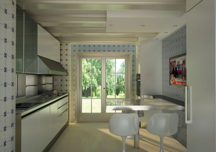 Render di una cucina laccata lucida bianca, con top in acciaio.