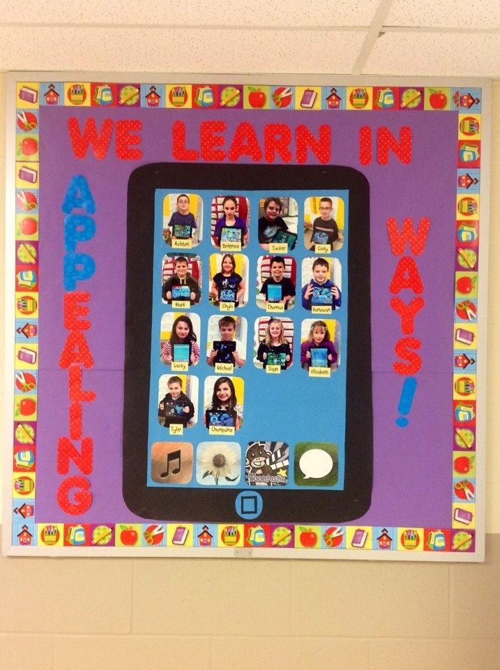 Classroom Ipad Ideas : Catiehelton ipad themed bulletin board incorporating