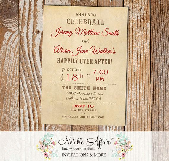 2309 best party ideas invitations images on pinterest birthday vintage rustic happily ever after invitation perfect for destination wedding day after wedding brunch wedding stopboris Images