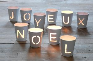 "DIY ""Joyeux Noel"" Luminary Cups"
