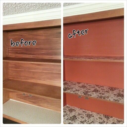 Kitchen Cabinets Inside Makeover Painted Red With Black And Cream Contact Paper Before After Pinterest Cabinet