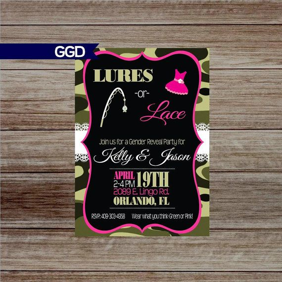Lures or Lace Gender Reveal Party  Invitation, Camo Gender Reveal, Boy or Girl, Blue or Pink, He or She, printable invitation  Check out this item in my Etsy shop https://www.etsy.com/listing/268790115/lures-or-lace-gender-reveal-party