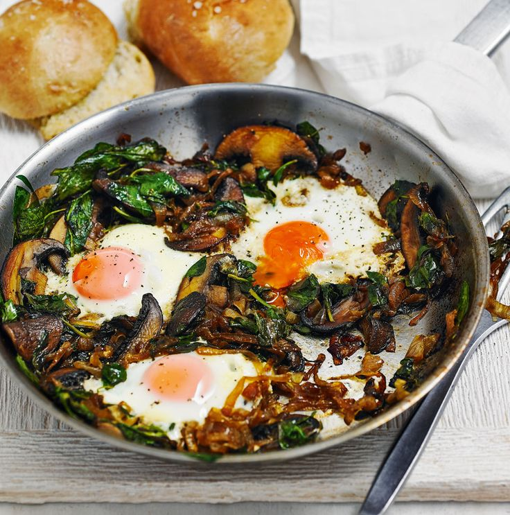 Eggs are a great go-to for midweek dinners and this combination of spicy onions, eggs, mushrooms and spinach makes this a healthy recipe too.
