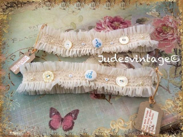 Vintage style ivory lace garter - Something Old, Something New, Something Blue,  £10.00