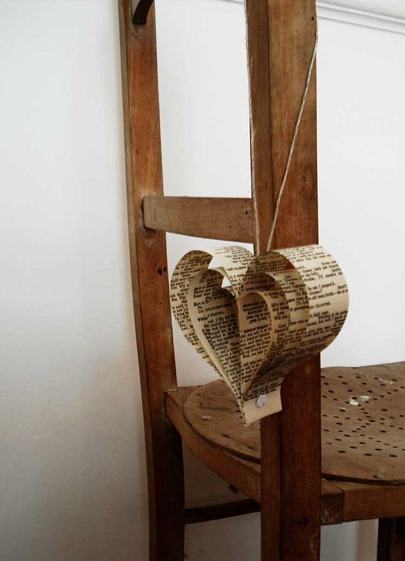 Shakespeare Wedding Decorations: 10 Paper Hearts by Bookity