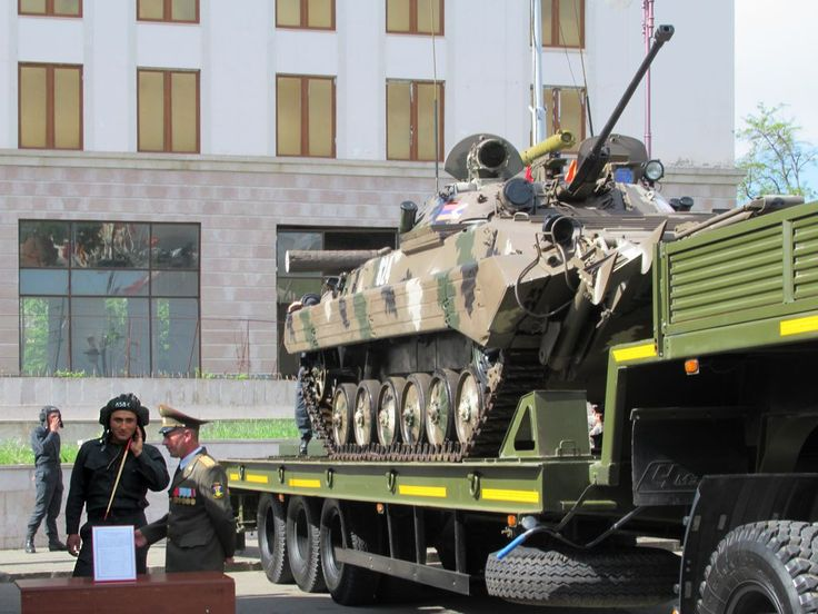 This Nagorno Karabakh Defense Army tank on display in Stepanakert is ready to go.