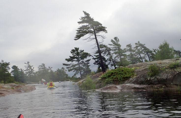 French River, Old Voyageur Route on a rainy day. July 2017