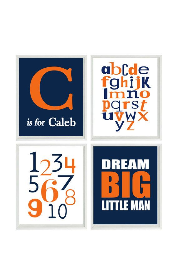Baby Boy Nursery Wall Art, Personalized Nursery Art, Alphabet Print, Numbers Art, Dream Big Little Man Quote, Navy Blue Orange Nursery by RizzleandRugee on Etsy https://www.etsy.com/listing/204348490/baby-boy-nursery-wall-art-personalized