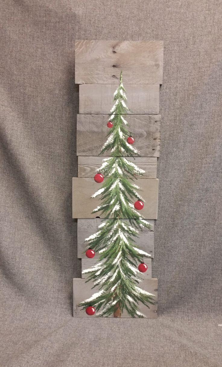 Christmas tree sign pallet art red bulbs by TheWhiteBirchStudio