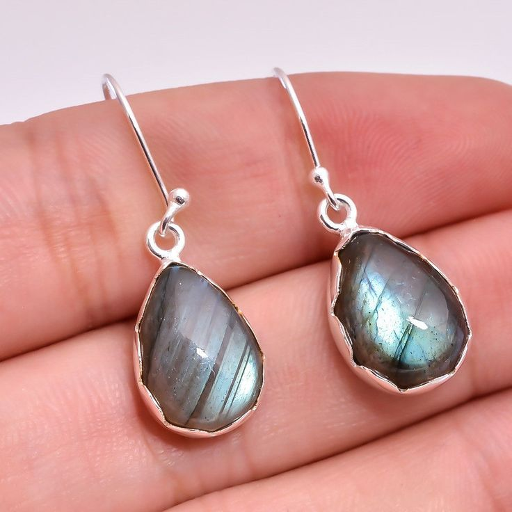 925 Sterling Silver Natural Labradorite Pear Design Hand Made Silver Earring #Unbranded