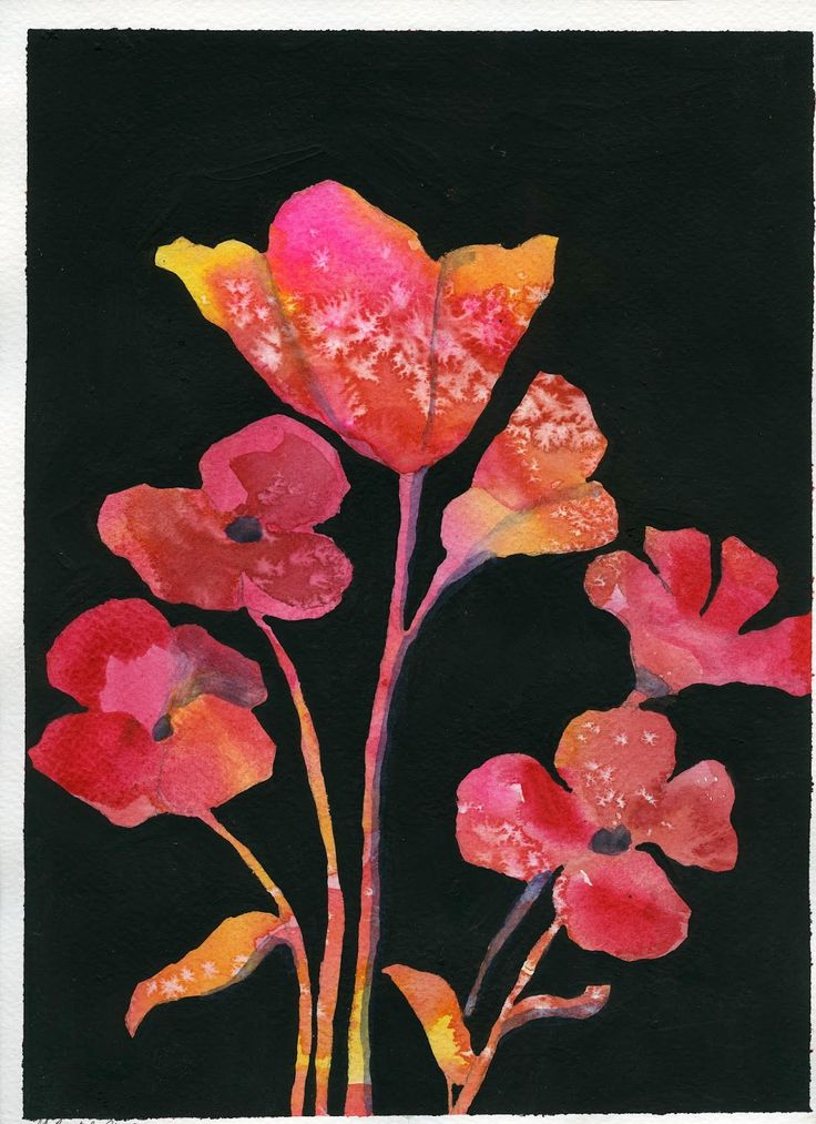Here is the next poppy project that I came up with, a negative poppy painting. Negative painting is a hard skill to grasp ...